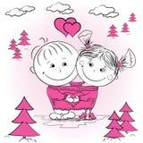 Ejemplo de un hombre y de una mujer en amor en un puente grande Fotografía de archivo libre de regalías