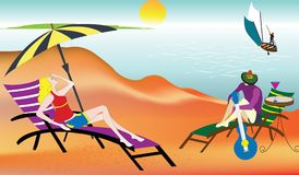 Ejemplo de un par en la playa, relajándose stock de ilustración