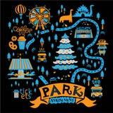 Ejemplo de un parque de atracciones de la Navidad stock de ilustración
