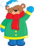 Ejemplo de un pequeño oso de peluche lindo, en color, en invierno, ideal para el libro de niños o la tarjeta de Navidad libre illustration