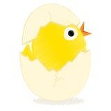 Polluelo con el huevo quebrado stock de ilustración