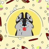 Ejemplo de un perro en estilo de la historieta ilustración del vector