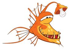 Ejemplo de un pescado del monje Pescados profundos Personaje de dibujos animados Foto de archivo