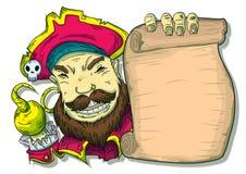 Ejemplo de un pirata al lado de una voluta ilustración del vector