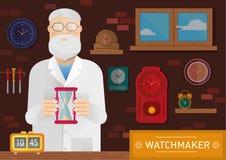 Ejemplo de un relojero en el lugar de trabajo con el reloj en la pared stock de ilustración