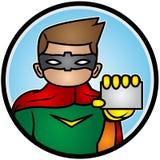 Ejemplo de un super héroe que muestra la tarjeta imagenes de archivo