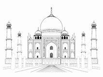 Ejemplo de un Taj Mahal, drenaje del vector stock de ilustración