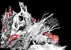Ejemplo de un tocón de árbol putrefacto viejo stock de ilustración