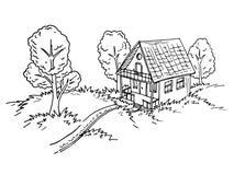 Ejemplo de una casa de campo libre illustration