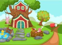 Ejemplo de una casa en el árbol en paisaje rural libre illustration