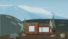Ejemplo de una casa en las montañas stock de ilustración