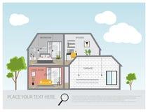 Ejemplo de una casa moderna y tradicional, diseño de proyecto de la casa, concepto de las propiedades inmobiliarias para las vent Fotografía de archivo