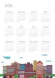 Ejemplo de una ciudad con un calendario Fotos de archivo
