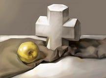 Ejemplo de una cruz y de Apple ilustración del vector