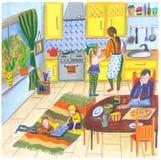 Ejemplo de una familia feliz en casa en la cocina para el almuerzo, cena o desayuno, madre, padre, niño y perro en a ilustración del vector
