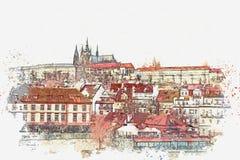 Ejemplo de una hermosa vista de Praga ilustración del vector