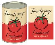 Ejemplo de una lata con la sopa del tomate de la etiqueta Fotos de archivo libres de regalías