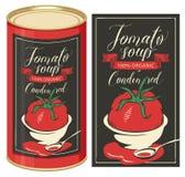 Ejemplo de una lata con la sopa del tomate de la etiqueta Imagen de archivo libre de regalías