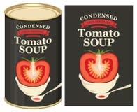 Ejemplo de una lata con la sopa del tomate de la etiqueta Foto de archivo
