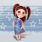 Ejemplo de una muchacha con las colas en un vestido stock de ilustración