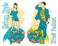Ejemplo de una muchacha y de un individuo elegantes jovenes libre illustration