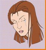 Ejemplo de una mujer gritadora en un arte pop Fotografía de archivo libre de regalías