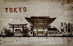 Ejemplo de una pintada en un muro de cemento de la ciudad de Tokio Imagen de archivo