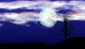 Ejemplo de una sola silueta del árbol bajo rayos de una Luna Llena y de nubes Un fuerte viento que rompe ramas ilustración del vector