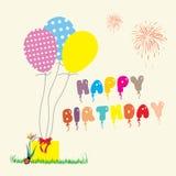 Ejemplo de una tarjeta de felicitación del feliz cumpleaños Fotos de archivo libres de regalías