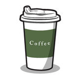 Ejemplo de una taza y de un café caliente Foto de archivo libre de regalías