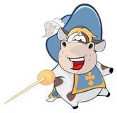 Ejemplo de una vaca linda Musketeer de rey Personaje de dibujos animados libre illustration