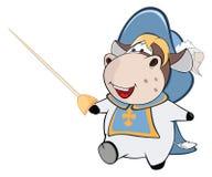 Ejemplo de una vaca linda Musketeer de rey Personaje de dibujos animados stock de ilustración