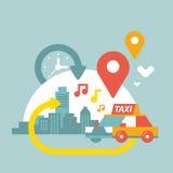 Ejemplo de una vida urbana con la ubicación del taxi y del geo Fotos de archivo