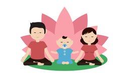 Ejemplo de una yoga practicante de la familia junto Imagenes de archivo