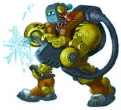 Ejemplo de Vector Cartoon Mascot del soldador del robot del Humanoid Imagenes de archivo