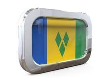 Ejemplo de Vincent Button Flag 3D del santo Imagen de archivo libre de regalías