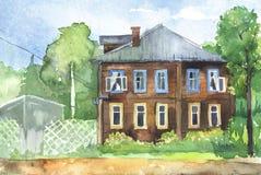 Ejemplo de Watercolored de una casa de madera Imagen de archivo libre de regalías