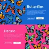 Ejemplo decorativo de las plantillas de la bandera de la web de las mariposas del vector stock de ilustración