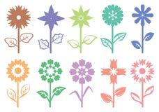 Ejemplo decorativo del vector del modelo de la silueta del tallo de flor Foto de archivo libre de regalías