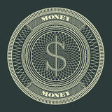 Ejemplo decorativo del vector del símbolo de la muestra del círculo del dinero Fotos de archivo libres de regalías