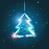 Ejemplo del árbol de navidad que brilla intensamente Fotografía de archivo libre de regalías