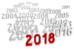 ejemplo del Año Nuevo 3D 2018 Foto de archivo