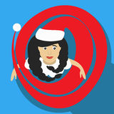 Ejemplo del Año Nuevo de la Navidad de la muchacha de Papá Noel de una visión superior con el icono simple de la imagen del casqu ilustración del vector