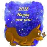 Ejemplo 2018 del Año Nuevo del perro Tarjeta de felicitación de un perro stock de ilustración