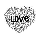 Ejemplo del amor en estilo del garabato Letras de la mano para el día del ` s de la tarjeta del día de San Valentín stock de ilustración