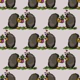 Ejemplo del amor y de la amistad Erizos con los cactus Modelo inconsútil Foto de archivo libre de regalías