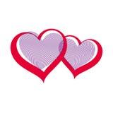 Ejemplo del arte del vector del día de San Valentín, dos corazones cariñosos Fotos de archivo