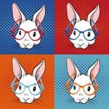 Ejemplo del arte pop del conejo stock de ilustración