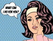 Ejemplo del arte pop de la muchacha con la burbuja del discurso Imagenes de archivo
