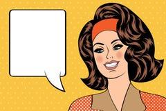 Ejemplo del arte pop de la muchacha con la burbuja del discurso Foto de archivo libre de regalías
